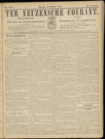 Ter Neuzensche Courant. Algemeen Nieuws- en Advertentieblad voor Zeeuwsch-Vlaanderen / Neuzensche Courant ... (idem) / (Algemeen) nieuws en advertentieblad voor Zeeuwsch-Vlaanderen 1911-10-10