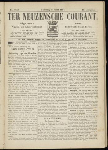 Ter Neuzensche Courant. Algemeen Nieuws- en Advertentieblad voor Zeeuwsch-Vlaanderen / Neuzensche Courant ... (idem) / (Algemeen) nieuws en advertentieblad voor Zeeuwsch-Vlaanderen 1881-03-02