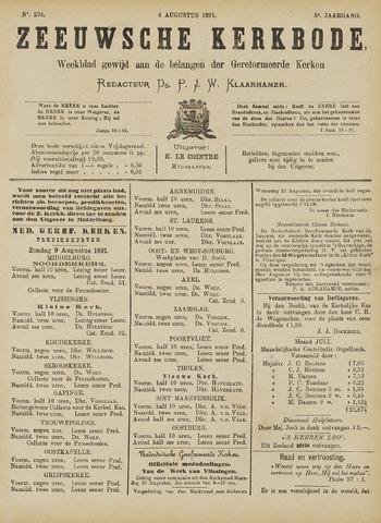 Zeeuwsche kerkbode, weekblad gewijd aan de belangen der gereformeerde kerken/ Zeeuwsch kerkblad 1891-08-08