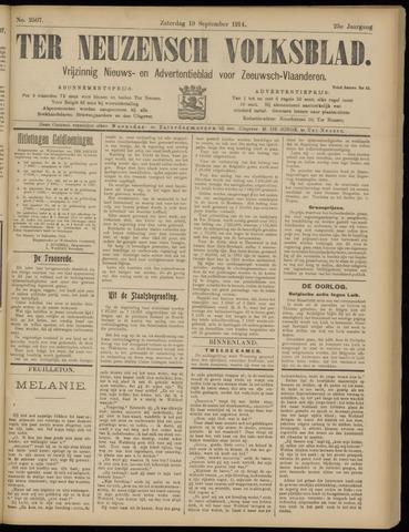 Ter Neuzensch Volksblad. Vrijzinnig nieuws- en advertentieblad voor Zeeuwsch- Vlaanderen / Zeeuwsch Nieuwsblad. Nieuws- en advertentieblad voor Zeeland 1914-09-19