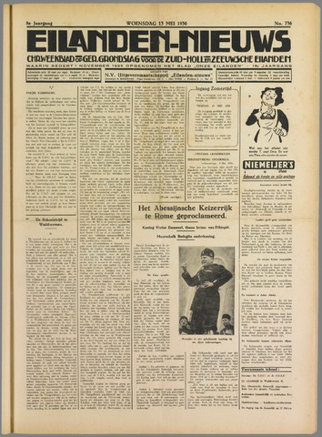 Eilanden-nieuws. Christelijk streekblad op gereformeerde grondslag 1936-05-13