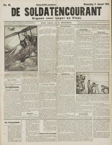 De Soldatencourant. Orgaan voor Leger en Vloot 1915-01-06