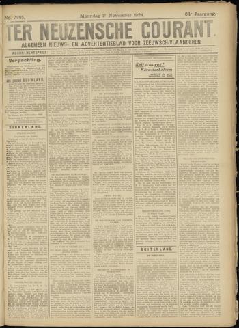 Ter Neuzensche Courant. Algemeen Nieuws- en Advertentieblad voor Zeeuwsch-Vlaanderen / Neuzensche Courant ... (idem) / (Algemeen) nieuws en advertentieblad voor Zeeuwsch-Vlaanderen 1924-11-17