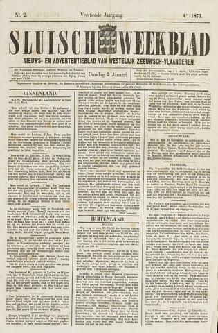Sluisch Weekblad. Nieuws- en advertentieblad voor Westelijk Zeeuwsch-Vlaanderen 1873-01-07