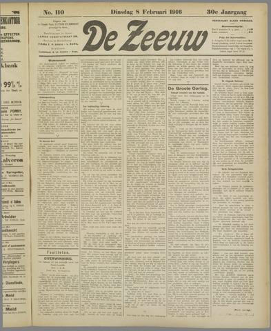De Zeeuw. Christelijk-historisch nieuwsblad voor Zeeland 1916-02-08