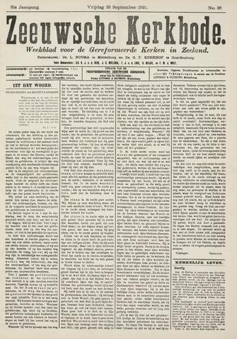 Zeeuwsche kerkbode, weekblad gewijd aan de belangen der gereformeerde kerken/ Zeeuwsch kerkblad 1921-09-23