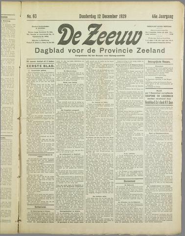 De Zeeuw. Christelijk-historisch nieuwsblad voor Zeeland 1929-12-12