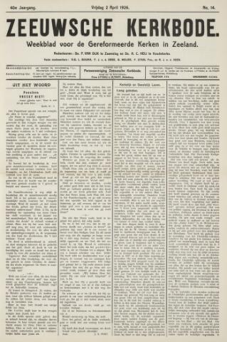 Zeeuwsche kerkbode, weekblad gewijd aan de belangen der gereformeerde kerken/ Zeeuwsch kerkblad 1926-04-02
