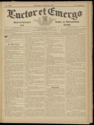 Luctor et Emergo. Antirevolutionair nieuws- en advertentieblad voor Zeeland / Zeeuwsch-Vlaanderen. Orgaan ter verspreiding van de christelijke beginselen in Zeeuwsch-Vlaanderen 1917-02-17