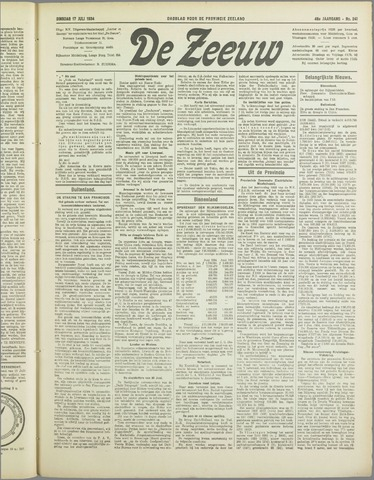 De Zeeuw. Christelijk-historisch nieuwsblad voor Zeeland 1934-07-17