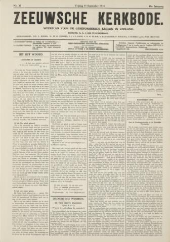 Zeeuwsche kerkbode, weekblad gewijd aan de belangen der gereformeerde kerken/ Zeeuwsch kerkblad 1935-09-13