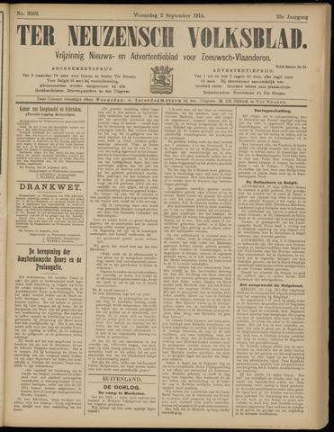 Ter Neuzensch Volksblad. Vrijzinnig nieuws- en advertentieblad voor Zeeuwsch- Vlaanderen / Zeeuwsch Nieuwsblad. Nieuws- en advertentieblad voor Zeeland 1914-09-02