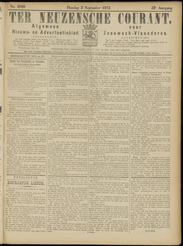 Ter Neuzensche Courant. Algemeen Nieuws- en Advertentieblad voor Zeeuwsch-Vlaanderen / Neuzensche Courant ... (idem) / (Algemeen) nieuws en advertentieblad voor Zeeuwsch-Vlaanderen 1912-09-03