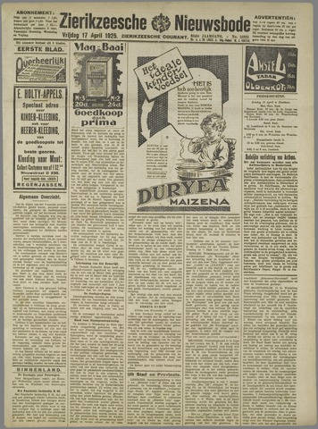 Zierikzeesche Nieuwsbode 1925-04-17