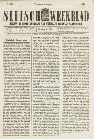 Sluisch Weekblad. Nieuws- en advertentieblad voor Westelijk Zeeuwsch-Vlaanderen 1873-11-11