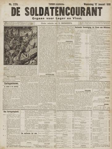 De Soldatencourant. Orgaan voor Leger en Vloot 1916-01-12