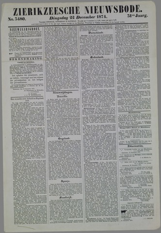 Zierikzeesche Nieuwsbode 1874-12-22