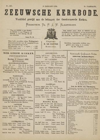 Zeeuwsche kerkbode, weekblad gewijd aan de belangen der gereformeerde kerken/ Zeeuwsch kerkblad 1892-01-16