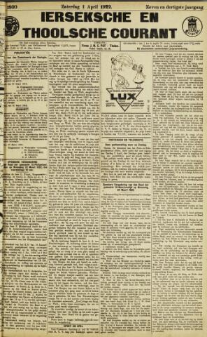 Ierseksche en Thoolsche Courant 1922-04-01