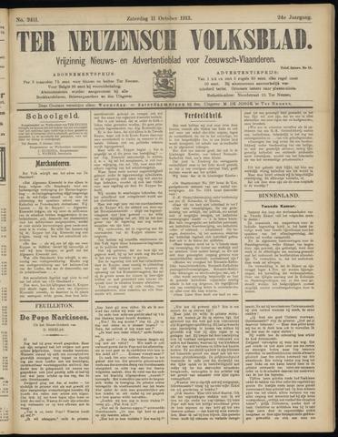 Ter Neuzensch Volksblad. Vrijzinnig nieuws- en advertentieblad voor Zeeuwsch- Vlaanderen / Zeeuwsch Nieuwsblad. Nieuws- en advertentieblad voor Zeeland 1913-10-11