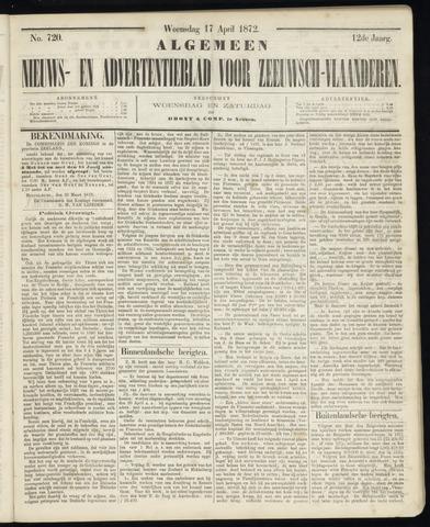 Ter Neuzensche Courant. Algemeen Nieuws- en Advertentieblad voor Zeeuwsch-Vlaanderen / Neuzensche Courant ... (idem) / (Algemeen) nieuws en advertentieblad voor Zeeuwsch-Vlaanderen 1872-04-17