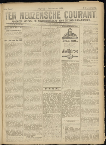 Ter Neuzensche Courant. Algemeen Nieuws- en Advertentieblad voor Zeeuwsch-Vlaanderen / Neuzensche Courant ... (idem) / (Algemeen) nieuws en advertentieblad voor Zeeuwsch-Vlaanderen 1924-12-12