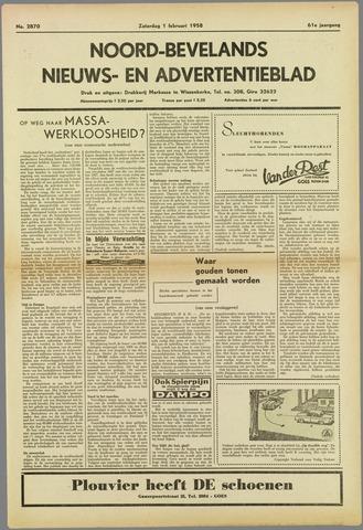 Noord-Bevelands Nieuws- en advertentieblad 1958-02-01