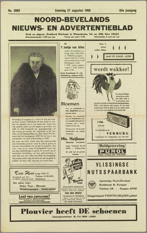 Noord-Bevelands Nieuws- en advertentieblad 1960-08-27