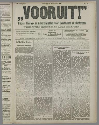 """""""Vooruit!""""Officieel Nieuws- en Advertentieblad voor Overflakkee en Goedereede 1917-09-22"""