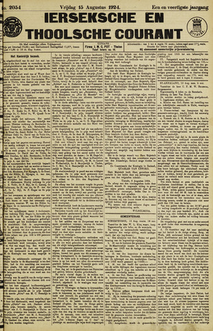 Ierseksche en Thoolsche Courant 1924-08-15