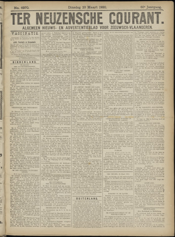 Ter Neuzensche Courant. Algemeen Nieuws- en Advertentieblad voor Zeeuwsch-Vlaanderen / Neuzensche Courant ... (idem) / (Algemeen) nieuws en advertentieblad voor Zeeuwsch-Vlaanderen 1920-03-23