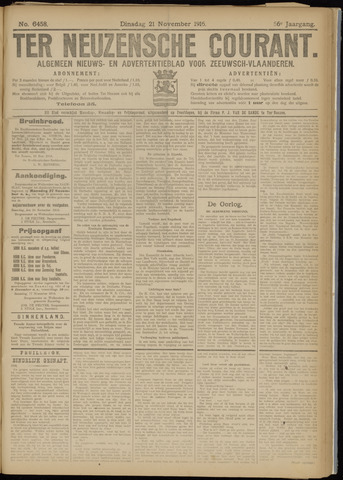 Ter Neuzensche Courant. Algemeen Nieuws- en Advertentieblad voor Zeeuwsch-Vlaanderen / Neuzensche Courant ... (idem) / (Algemeen) nieuws en advertentieblad voor Zeeuwsch-Vlaanderen 1916-11-21