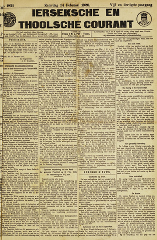 Ierseksche en Thoolsche Courant 1920-02-14