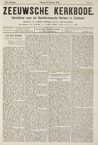 Zeeuwsche kerkbode, weekblad gewijd aan de belangen der gereformeerde kerken/ Zeeuwsch kerkblad 1925-02-20