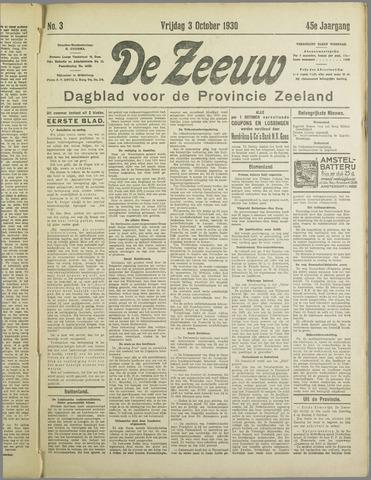 De Zeeuw. Christelijk-historisch nieuwsblad voor Zeeland 1930-10-03