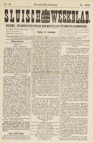 Sluisch Weekblad. Nieuws- en advertentieblad voor Westelijk Zeeuwsch-Vlaanderen 1876-09-15