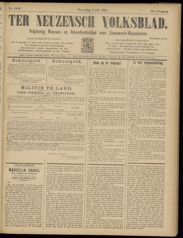 Ter Neuzensch Volksblad. Vrijzinnig nieuws- en advertentieblad voor Zeeuwsch- Vlaanderen / Zeeuwsch Nieuwsblad. Nieuws- en advertentieblad voor Zeeland 1914-07-08