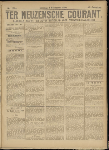 Ter Neuzensche Courant. Algemeen Nieuws- en Advertentieblad voor Zeeuwsch-Vlaanderen / Neuzensche Courant ... (idem) / (Algemeen) nieuws en advertentieblad voor Zeeuwsch-Vlaanderen 1920-11-02