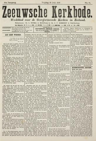 Zeeuwsche kerkbode, weekblad gewijd aan de belangen der gereformeerde kerken/ Zeeuwsch kerkblad 1916-07-28