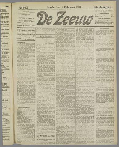 De Zeeuw. Christelijk-historisch nieuwsblad voor Zeeland 1917-02-01