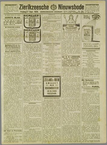 Zierikzeesche Nieuwsbode 1926-09-17