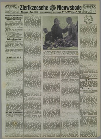 Zierikzeesche Nieuwsbode 1930-08-04