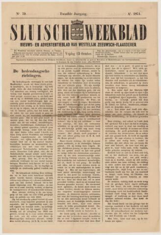 Sluisch Weekblad. Nieuws- en advertentieblad voor Westelijk Zeeuwsch-Vlaanderen 1871-10-13