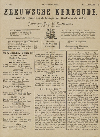 Zeeuwsche kerkbode, weekblad gewijd aan de belangen der gereformeerde kerken/ Zeeuwsch kerkblad 1889-08-31