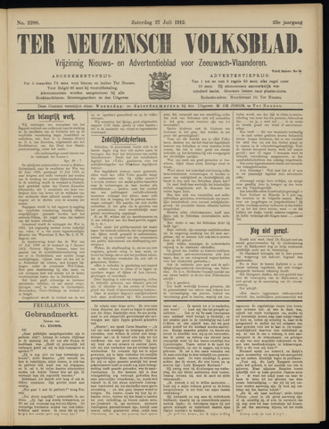 Ter Neuzensch Volksblad. Vrijzinnig nieuws- en advertentieblad voor Zeeuwsch- Vlaanderen / Zeeuwsch Nieuwsblad. Nieuws- en advertentieblad voor Zeeland 1912-07-27