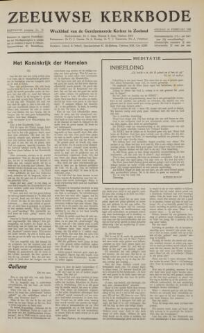 Zeeuwsche kerkbode, weekblad gewijd aan de belangen der gereformeerde kerken/ Zeeuwsch kerkblad 1958-02-14