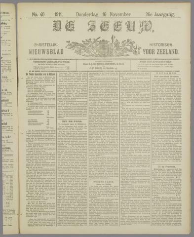 De Zeeuw. Christelijk-historisch nieuwsblad voor Zeeland 1911-11-16