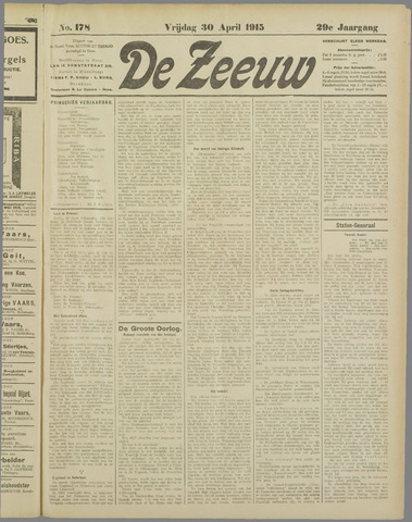 De Zeeuw. Christelijk-historisch nieuwsblad voor Zeeland 1915-04-30