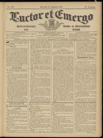 Luctor et Emergo. Antirevolutionair nieuws- en advertentieblad voor Zeeland / Zeeuwsch-Vlaanderen. Orgaan ter verspreiding van de christelijke beginselen in Zeeuwsch-Vlaanderen 1912-08-31