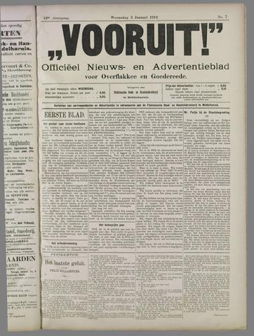 """""""Vooruit!""""Officieel Nieuws- en Advertentieblad voor Overflakkee en Goedereede 1912-01-03"""